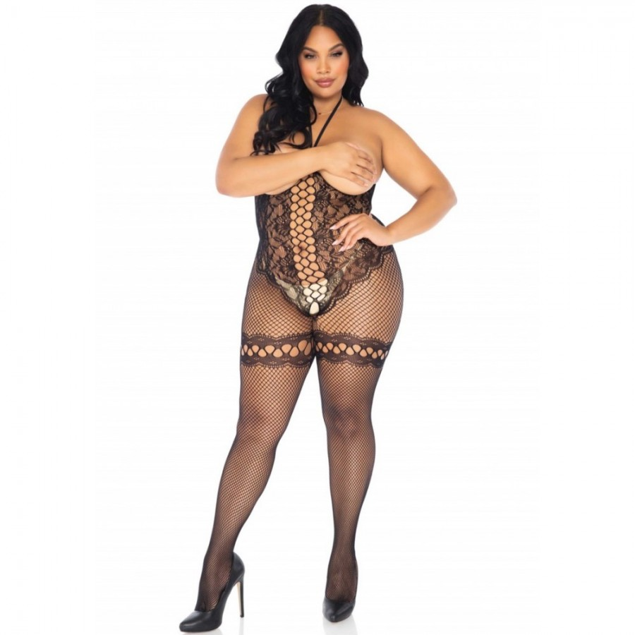 Cupless Fishnet Bodystocking PLUS